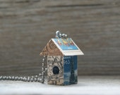 SALE - Funky Little Christmas Birdhouse House Pendant Charm Necklace Keychain - Santa's Map -  Art By Heather - Ready To Ship