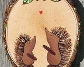 NURSERY ART CUSTOM wood burned porcupine hedgehog hand painted room decor baby shower gift personalized forest woodland theme Christmas