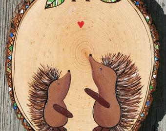 Original CUSTOM porcupine HEDGEHOG wood burned Nursery Art wall hanging painting baby shower gift forest woodland theme Christmas