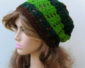 Green brown Slouchy Beanie Hat small dread tam slouch hat crochet