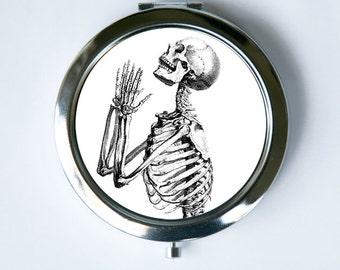 Skeleton Praying Compact Mirror Pocket Mirror gothic psychobilly anatomy