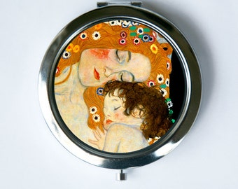 Klimt Mother and Daughter Compact Mirror Pocket Mirror Art Nouveau