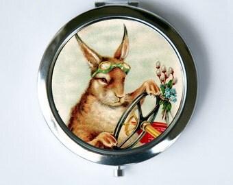 Steampunk Rabbit Compact MIRROR Pocket Mirror anthropomorphic Kitsch animal