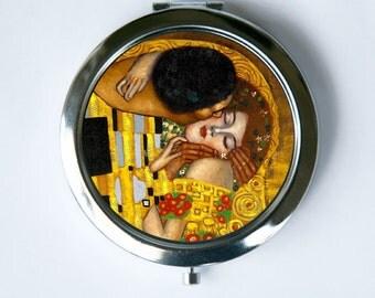 Klimt The Kiss Compact Mirror Pocket Mirror Art Nouveau fine art painting
