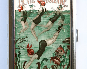 Art Deco Swimmers La Vie Parisienne Flapper Cigarette Case id case Wallet Business Card Holder #9