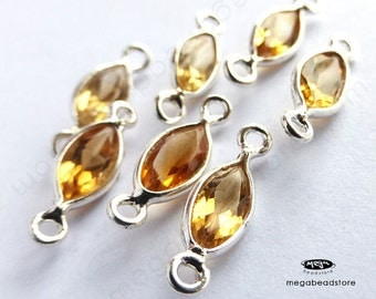 6 pcs 8mm  Citrine (natural) Sterling Silver Bezel Marquise Connector F498S