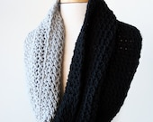 Infinity Cowl - Colorblocked Merino Wool Knit Scarf or Shoulder Wrap - Infinity Scarf - Black And Grey