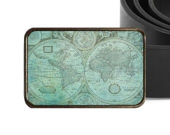 Teal World Map Belt Buckle, Green, Father's Day, Graduation Gift