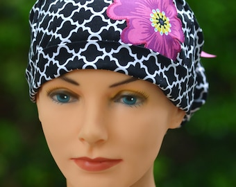Womens Surgical Scrub Caps - Ponytail - The Hat Cottage - Lattice