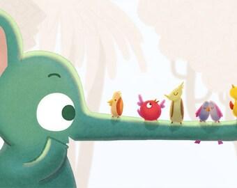 "Elephant, Birds, Baby Card, Children's Card, Happy Art, blank greeting card - ""Making Friends"""
