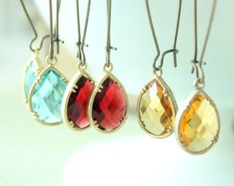 Birthstone Earrings, Faceted Colored Stone Earrings, Ruby Red dangle earrings, Topaz Yellow long earrings, Aquamarine Blue drop earrings