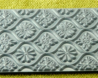WOVEN DAISEYS  Rubber Stamp for Clay / Inking  Diasy   TTL-428