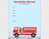 Red Fire truck Printable Birthday party invite - Instant DOWNLOAD