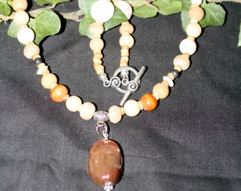 Egyptian Raku Scarab Pendant on Necklace of Wood & Gemstone Beads - Ritual, Pagan, Wicca, Witchcraft