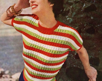 Carefree Sweater for Ladies 1950s  Vintage Knitting Pattern Pdf Digital Email
