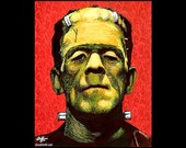 "Print 8x10"" - Frankenstein - Monster Dark Art Horror Vintage Creature Zombie Gothic Halloween Cute Pop Art Creepy Classic Lowbrow Cute"