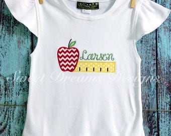 Back to school angel wing tee - ruler and apple - personalized