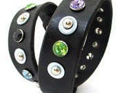 Black Leather Dog Collar with Jewel Tone Crystal Rivets & Silver Studs, Size L to fit a 18-21 Neck, Large Dog, Eco-Friendly, OOAK