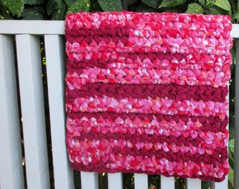Rag Rug Recycled Colorful Raspberry Upcycle Dog Cat Pet Mat Rug Rectangle Floor Cover