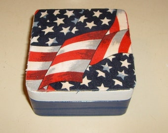 Wooden trinket box covered with flag fabric (celebrate America) handmade and designed