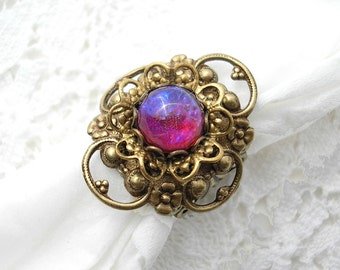 Dragons Breath Adjustable Ring - Mexican Glass Fireopal in Antiqued Brass