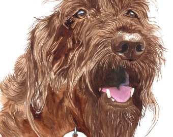 Chocolate Labradoodle giclee reproduction personalized with name