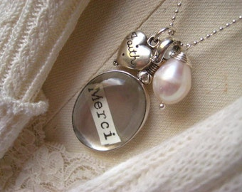 Locket Necklace, Glass Heart, Cross Charm, Natural Pearl, Sterling Silver, Beaded chain, Heirloom jewelry, Faith Charm, Keepsake jewelry