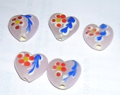 PINK Lampwork HEART beads (5) 14 x 16MM