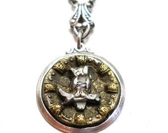 OWL Antique BUTTON necklace, Victorian bird on silver chain.
