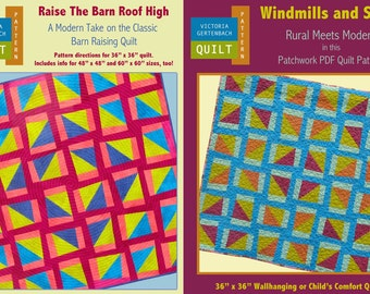 Two PDF Quilt Patterns - Raise The Barn Roof High and Windmills and Silos - Combo Pattern Pack - Quilt Patterns - PDF File Quilt Pattern