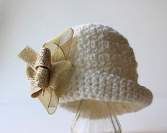 Vintage Inspired Crochet Hat Pattern w/ Bow Crochet Booties Shoe Baby Bib Pattern No. 72