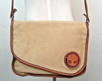 CANVAS MEETS LEATHER handbag . messenger bag . shoulder bag