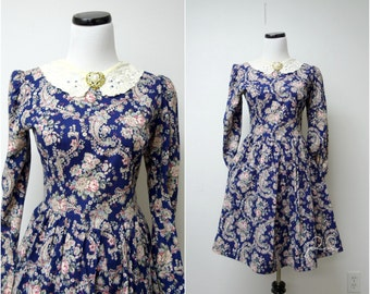 POLYANA . vintage floral long sleeve dress . size 8 . made in USA