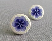 plum blossom post earrings, blueberry and lime ... porcelain jewelry by Sofia Masri
