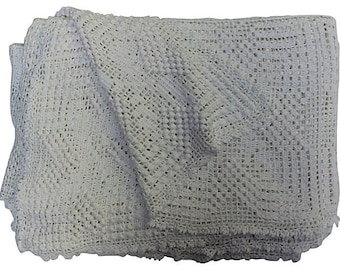 Hand-Crocheted Cotton Coverlet - Snowy White Crochet Blanket - Cottage Chic