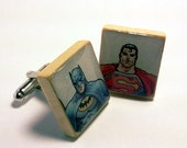 Batman Superman Cuff Links Scrabble Tile Comic Book