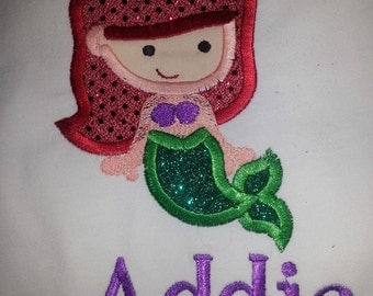 Mermaid under the sea personalized Monogrammed T Shirt or Bodysuit Embroidered applique sparkly