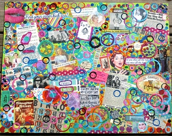 Mania Unplugged A Mixed Media Chaotic Collage Painting
