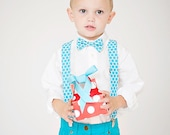 Boy's Christmas Outfit, Boy's Bow Tie and Suspender, Aqua Blue Polka Dot, Blue Christmas, Toddler Bow Tie