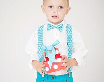 Boy's Bow Tie and Suspender Set - Valentine's Day Kids Clothing - Aqua Blue Dots
