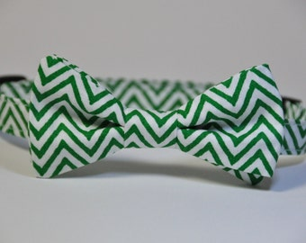 Christmas Bow Tie Green and White chevron