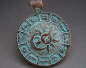 Mykonos Astrological Symbols Zodiac Pendant Greek Copper Antiqued Green Turquoise Sun Moon Naos
