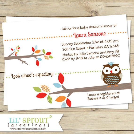 treetop friends baby shower invitation owl by lilsproutgreetings