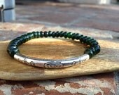 Green Jade Bracelet with Tibetan Silver Curved Spacer Bead