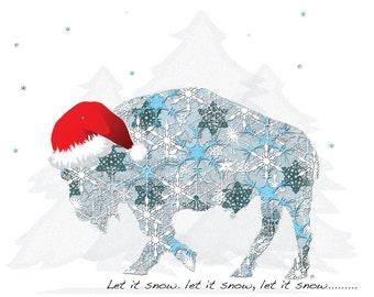 Buffalo Cards - Snow Buffalo in Santa Hat  -  Buffalo Christmas Cards - SET of 2 - Buffalo NY