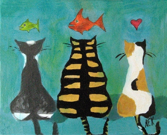 Cat Art - Three Cats with Fish -  Tiger Cat - Tabby Cat -  Calico Cat - Gold Fish - 8x10 Print - Cat Print - Gift for Cat Lover