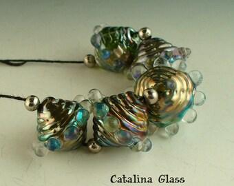 SRA Lampwork Glass Beads handmade by Catalina Glass  Rainbow Ridges 5 Beads