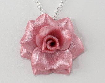 Light Magenta Rose Pendant Necklace - Simple Rose Necklace - Handmade Bridesmaid, Wedding Jewelry - Polymer Clay Rose - #309 Ready to Ship