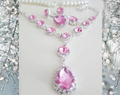 Pink Crystal Wedding Jewelry Set - Bridal Necklace Drop Earrings - Pearl Pink Rhinestone Jewelry - Wedding Jewelry Bridesmaids
