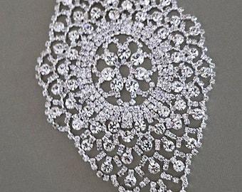 Wide Rhinestone Wedding Cuff, Rhinestone Bridal Cuff Bracelet, Silver Cuff, Crystal Cuff Bridal Accessories, Wedding Jewellery